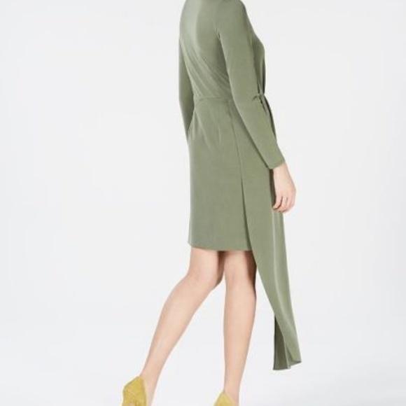NWT Bar III Womens Pleated Asymmetrical Long Sleeve Mini Dress $79